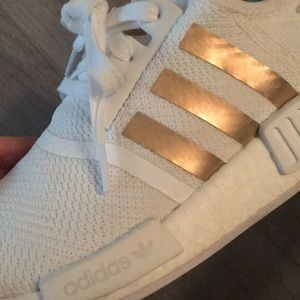Adidas white and rose gold NMD